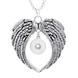 Wholesale Assorted Necklace Pendants - Brand New 10PCs assorted women's Silver Wings ginger 18mm Snap Buttons chunk charms pendant necklaces wholesale lots