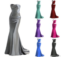Wholesale Long Prom Dresses Blue - Hot Selling 2017 Silver Grey Burundy Mermaid Bridesmaid Dresses Cheap Long Maid of Honor Dress Evening Prom Gowns Lace Up Beading