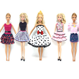 Wholesale Barbies Dolls Dresses - NK 5 Pcs   lot New Doll Accessories lifestyle Suit Slim evening Dress Clothes For Barbie doll Festival Gift For Girl