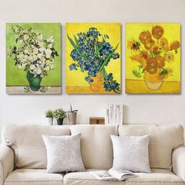 Wholesale Sunflower Prints - Sunflowers By Van Gogh Canvas Oil Painting Classic Framed Arts Reproduction Art Giclee Print On Canvas 3 Panels Gallery Wrapped