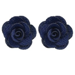 Wholesale Cloth Earrings - New Style Colorful Cloth Material Flower Rose Stud Earrings Fashion Designer Brincos Women