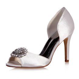 Wholesale Red Heel Less Shoes - Less Platform Women Wedding Rhinestone Shoes Pumps Peep Toe Satin Slip On Purple Champange White Stiletto High Heels Heeled