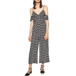Wholesale Vintage Playsuits - Wholesale- Women sexy V neck vintage floral loose jumpsuits spaghetti strap sleeveless rompers summer casual streetwear playsuits KZ779