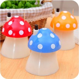 Wholesale toothpicks automatic - Wholesale- Creative gift cute home kitchen Supplies automatic mushroom toothpick box Toothpick Holders color mixed #70002