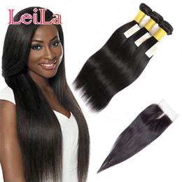 Wholesale Peruvian Hair Silk Closure Piece - Peruvian Virgin Hair Remy Hair Cheap Silk Straight Weaves 3 Bundles With Lace Closure Straight Hair 4Pcs Lot