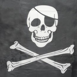 Wholesale Pirate Party Flags - Wholesale- Top Grand Pirate Flags Skull and Crossbones Jolly Roger Pirate Flags Party Banner Hanging w  Grommets 5x3FT Advertising Flags