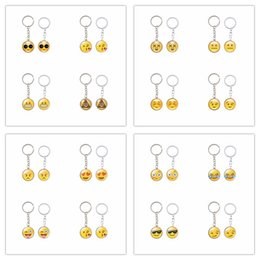 Wholesale Men Rings Gem - Mix 18 Design Emoji Key Chain Smiling Kiss Cry Angry Expression Face Time Gem Glass Cabochon Pendant Key Ring Fine Jewelry