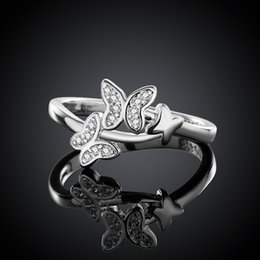 Wholesale Cheap Stone Accessories - Butterfly Silver Rings Animal Zircon Stone Wedding Ring with Box Jewelry For Party Wholesale Cheap Quality Gift Accessories RG-142