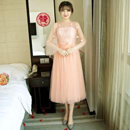 Wholesale Bridemaid Dress Modest - peach color girls bridesmaid brides maid modest dresses bridemaid tulle short bridesmaids dress bridemaids wedding guest X4029