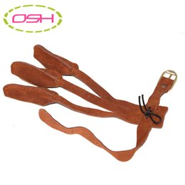 Wholesale Cow Pads - Wholesale- 3 finger guard protector brown suede cow leather wrist connecting for archery bow hunting protective free shiping