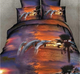 Wholesale Sunset Bedding Queen - 3D Sunset Bedding sets Dolphin sheet set duvet cover bed in a bag sheets linen spread bedspread doona Queen size Full double