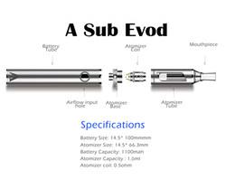 Wholesale Portable Ecig - A SUB EVOD Starter Kit Vaporizer Electronic Cigarettes Vape Pen Portable Ecig Mult Colors 1100mAh Battery
