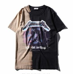 Wholesale Vintage Band Tees - Ride The Lightning Special Metallica T shirt Men Vintage Streetwear Fashion Heavy Metal Music Band Tee shirt Homme Patchwork Tee