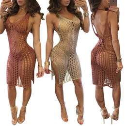 Wholesale Mini See Through - 2017 Sexy Women's Perspective Nightclubs Dresses Deep V Neck Sleeveless Backless Hollow Out See Through Split Slim Cotton Mini Dress