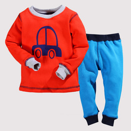 Wholesale Pyjama Boys Cars - Children Boys Winter Pajama Sets 2pcs Car Cartoon Fleece Warmly Baby Boy Clothing Set Kids Casual Sleep Wear Pyjamas 2t 3t 4t 5