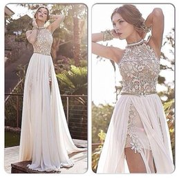 Wholesale Halter Wedding Dresses Slit - 2017 Julie Vino Beach Wedding Dresses Halter Lace Pearls Chiffon High Split Backless Greek Boho Wedding Dresses Sweep Train