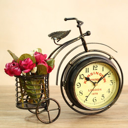 Wholesale Clock Sides - Double-sided iron art tricycle clock, home decoration clock, European style garden style, retro bronze, home furnishings.