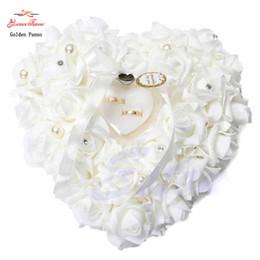 Wholesale Wedding Ring Pillow Cushion - Wholesale- Free shipping NEW Elegant Rose Wedding Favors Heart Shaped Design Gift Ring Box Pillow Cushion