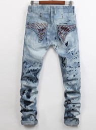 Wholesale Decoration Lights Stripe - 2017 hot sale Men Jeans Classic Denim Trousers Robin Jean For Men,High Quality Cotton Jeans Fried Snow Slim Jeans Rhinestone Decoration