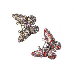 Wholesale Vintage Butterfly Pins Brooches - Wholesale- Vintage Butterfly Brooches Pins for Women Fashion Jewelry Inlay Shiny Red Purple Rhinestone Lovely Animal Brooch Jewelry Gift