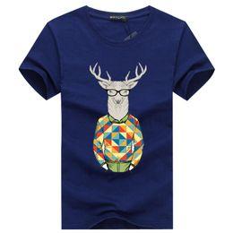Wholesale Browning Deer Shirt - Mens T Shirts Fashion Black Deer Animal 3D Print Man Cotton Blend Tshirts homme Printing Swag Classic Purple Punk Tops Tees