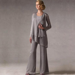 Wholesale Groom Silver Grey Suits - Hot Chiffon Three Pieces Mother of Bride Groom Pants Suits 2017 New Grey Long Sleeves Mother Suits Formal BA6389