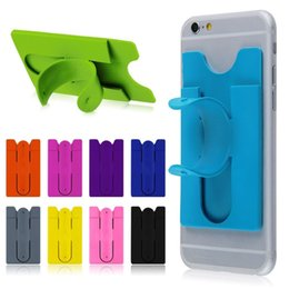 Wholesale One Touch Mobile - Hotsale OEM cheap 3M sticker silicone mobile phone card pocket with stand holder, one touch silicone mobile stand holder