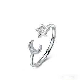 Wholesale Wholesale Lucky Ring Stone - Adjustable Size Silver Plated 925 Sterling Silver Rings Moon Star Lucky Wedding Promise Engagement Ring Jewelry