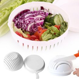 Wholesale Cutter For Plastic - Cooking Cutters 60 Second Salad Maker Bowl Fruit Vegetable Salad Cutter Bowl Quick Washer Chopper Tools for Kitchen Accessories 170320