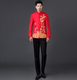 Wholesale Mens Embroidered Wedding Suits - White black red blue 2017 new arrival embroidered men chinese tunic suit set mens suits wedding groom formal dress costume