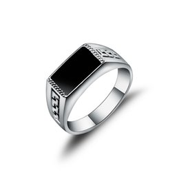 Wholesale Gold Squared Band Ring - New Arrival Hight Quality White Gold Plated Jewelry Male Ring Fashion Square Black Enamel Men Rings