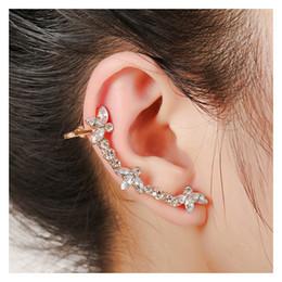 Wholesale Single China Plates - XS New Brincos Bling Luxury Crystal White Gold Ear Cuff Retro Earrings Right Single Cuff Earrings Women Girls Bijouterie