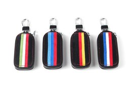 Wholesale Bmw Leather Key Cover - 1pcs auto truck vehical Car Black m performance power Genuine Leather Remote Key Bag Case Holder Cover For BMW VW