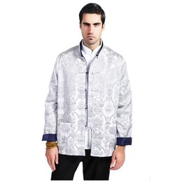 Wholesale Men Chinese Silk Coat - Wholesale- Blue Silver Male Silk Satin Reversible Jacket Chinese Classic Two Sided Coat Totem Tang Suit Overcoat Size M L XL XXL XXXL MS118