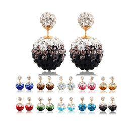 Wholesale Shamballa Ball Earrings - Genuine Crystal Disco Ball silver earrings Shamballa Stud Earring crystal double - sided pearl candy earrings princess diamond earrings D028