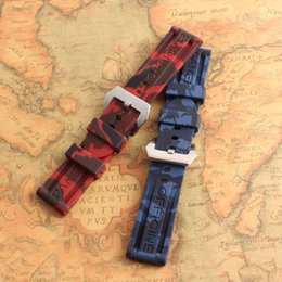 Wholesale Metal Strap Watches For Women - Hot-sale Men Women Red Blue mixed colors Silicone Rubber Watchband Strap watch Band Waterproof for wristwatches 24mm metal clasp free shippi