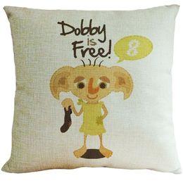 Wholesale Textile Cotton Black - 45x45cm Cotton Linen Pillow Case Harry Potter Dobby Pattern Chair Seat and Waist Square Decorative Pillow Cover Home Textile