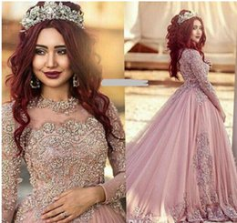 Wholesale Classic Western Dress - Ball Gown Long Sleeves celebrity Princess Muslim Western prom Dresses Bridal Gowns With Beads 2017