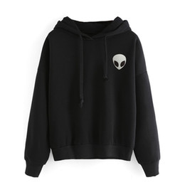 Wholesale Bts Kpop - Black Alien Fleece Hoodies Sweatshirts Women Embroidery Long Sleeve Pullover Hooded Tops Kpop Bts Jumper Tops Clothing Plus Size