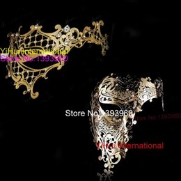 Wholesale Couples Masquerade Masks - Wholesale- Black Gold Silver White Phantom Man Woman Venetian Mask Masquerade Metal Couple Masks Skull Face Half Halloween Party Masks