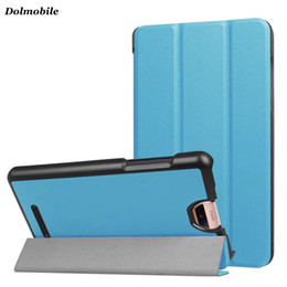 Wholesale Wholesale Acer Iconia Tablet Covers - DOLMOBILE Slim Three Folder Case for 2017 Acer Iconia TalkS A1-734 Tablet Cover Magnet PU Leather Flip Cases + Stylus Pen 50pcs