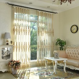Wholesale Embroidered Tulle Curtains - New Arrival Lace Sheer Curtains Free Shipping Embroidered Lace Curtain for Girls Bedroom Lace embroidered voile Tulle curtains