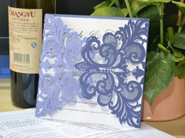 Wholesale Laser Paper Invitations - Wholesale- navy blue wedding invitations elegant,laser cut paper party invitation