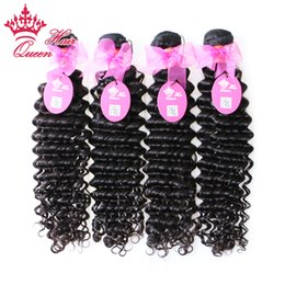 """Wholesale Deep Curl Brazilian Weft - Queen Hair 12-28"""" Virgin brazilian hair human hair extensions deep curl weft 4pcs lot free ship off black free shipping By DHL"""