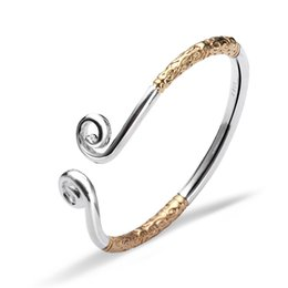 Wholesale Bracelet Styles Bling - Adjustable Cuff Bangle Tight Spells Style Sterling Silver Handmade Bling Gold Fashion Jewelry Bracelets Free Shipping SZ000193