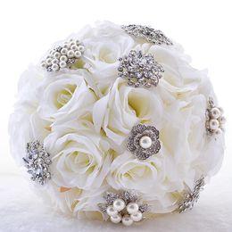 Wholesale American Earth - European And American Brides Holding Flowers Wedding Flowers Ornament Pearl Ribbon Wedding Bouquet De Novia Bridal Bouquets