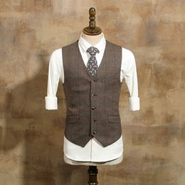 Wholesale Wedding Dress Size 36 - 2017 Brown Wool Herringbone Tweed Vest Mens Suit Vests Slim Fit Groom Vests Vintage Wedding Vest Unique Mens Dress Vest Waistcoat Plus Size