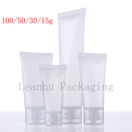 Wholesale Tubes Cosmetic Containers - 15 30 50 100 ml natural frosted soft lotion cosmetics tube , squeeze plastic bottle, shampoo lotion tube packaging,container
