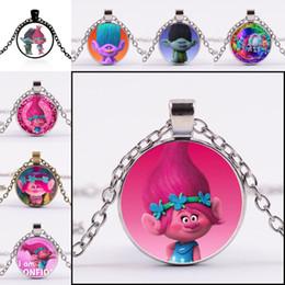Wholesale Poppy Charms - Carton Trolls poppy Branck Glass Cabochon Necklace Time Gemston dome Pendant Jewelry for women Kid Gift silver bronze black 161794