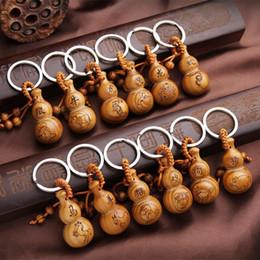 Wholesale Wholesale Wood Pillar - Gourd keychain 12 Zodiac peach wood key pendant 12 Zodiac key chain peach gourd pure hand-made accessoriesb JF-130